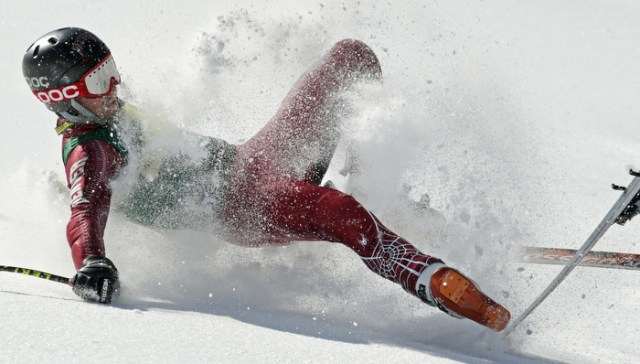 Grant Jampolsky, of Squaw Valley, Calif., crashes during the men's super-G race at the U.S. Alpine Ski Championships in Squaw Valley, Friday, March 22, 2013.