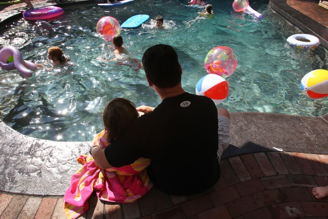 8. Calle's sixth birthday party is moved up by seven weeks  as she continues to weaken. A pool party is held at a friend's house. When Calle became too cold and tired to swim, she and her dad, Kevin, watched the other children play.