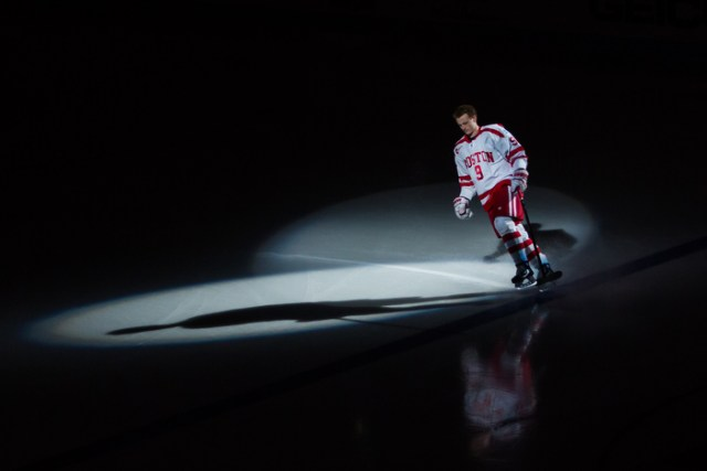 March 13, 2015 – Boston University's Jack Eichel skates as he is introduced in a pre-game ceremony of a Men's Hockey East playoffs quarterfinal game against Merrimack College at Agganis Arena in Boston, Mass.