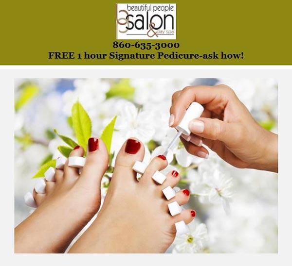 free 1 hour Signature Pedicure at Beautiful People Salon