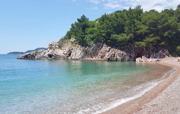 Plazhi Mbretëror në Mal të Zi në hartë. Plazhi i Mbretëreshës në ...