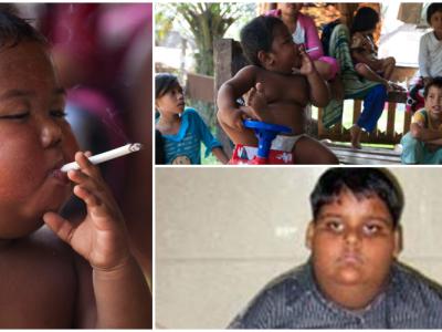 喫煙する二歳児