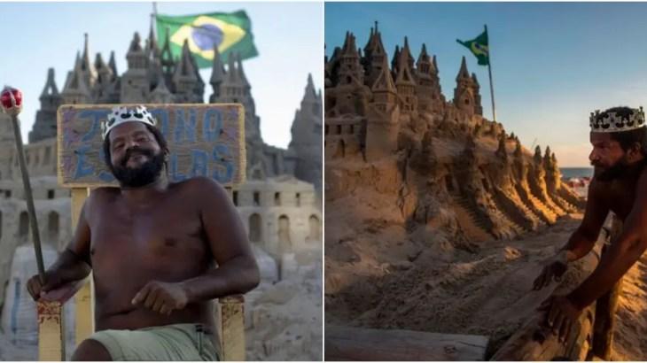 王様歴22年!リオのビーチに自作した砂の城で籠城生活を続ける男