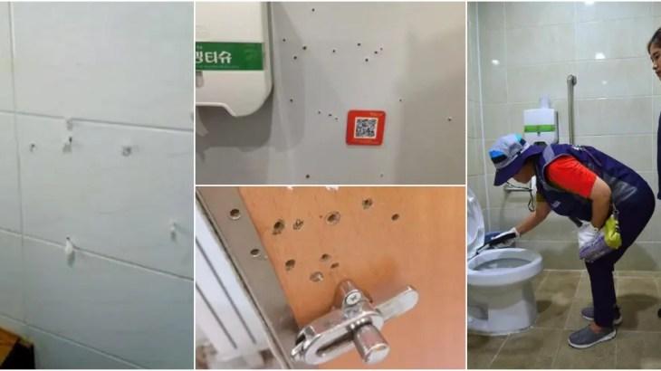 韓国で公衆トイレの盗撮被害が急増で女性の不満爆発!不審な小さな穴は要注意