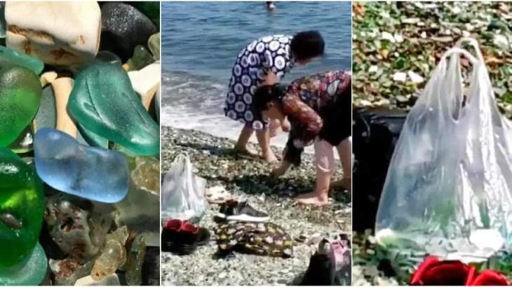 ロシアのビーチで中国人観光客の団体にブーイング!ガラスの浜辺が20年で消える