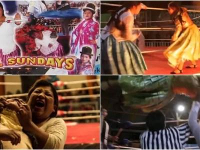 オシャレで激しいボリビアの女子レスリング