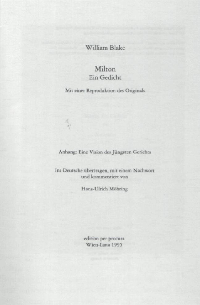 Thomas Eichhorn, trans., William Blake, Zwischen Feuer und