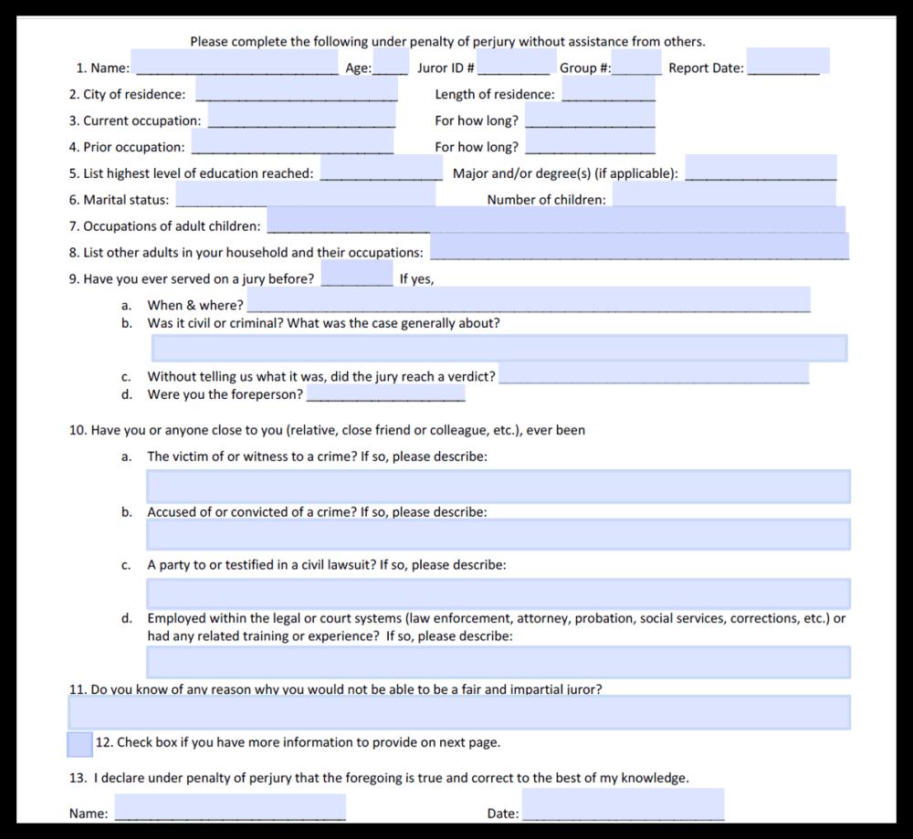 Simple, 1-page, fillable PDF juror questionnaire