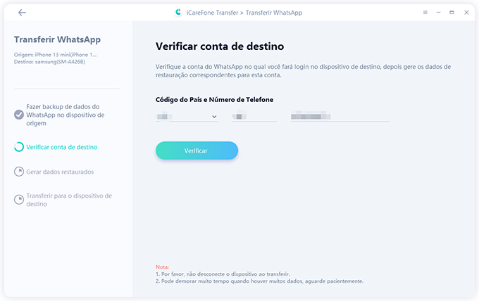 iCareFone Transferir Mensagens do WhatsApp Entre iPhone e Android Etapa 2