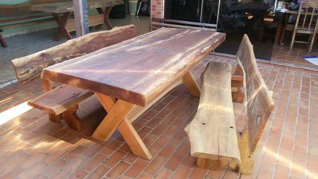 mesa de madeira para area de churrasco  Vazlon Brasil