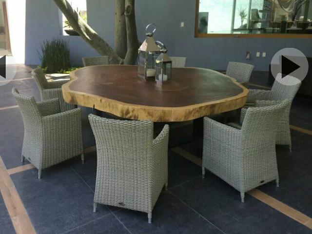 sala de jantar copa mesa redonda rustica 150m madeira