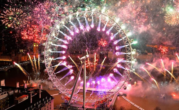 """""""Celebrating New Year 2014-Fireworks light the sky above the London"""""""