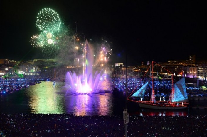 """Celebrating New Year 2014-Marseille- France- Pyrotechnic show in the Vieux Port"""