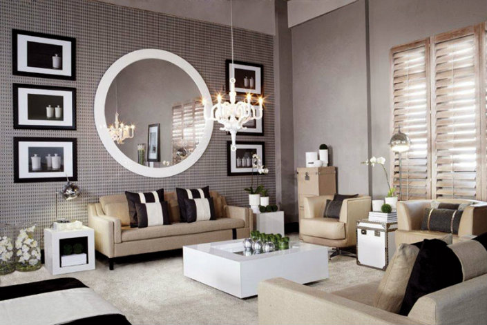 8 ideas to use a round mirror in a large living room 8