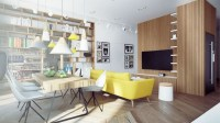 How To Decorate A Big Living Room With Yellow Contemporary ...