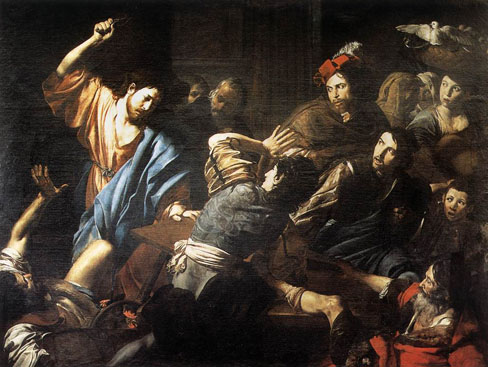 """""""You get 'em, Jesus!"""" (In the temple, driving out the money changers)"""