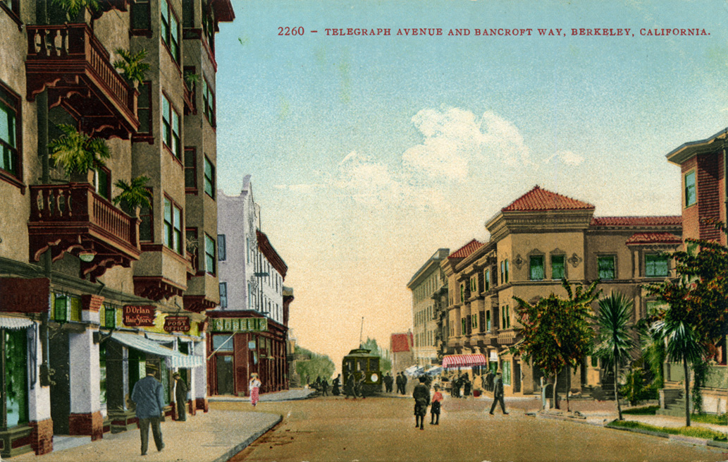 An old postcard of the intersection of Telegragh Ave and Bancroft Way. Where's the American Apparel store?