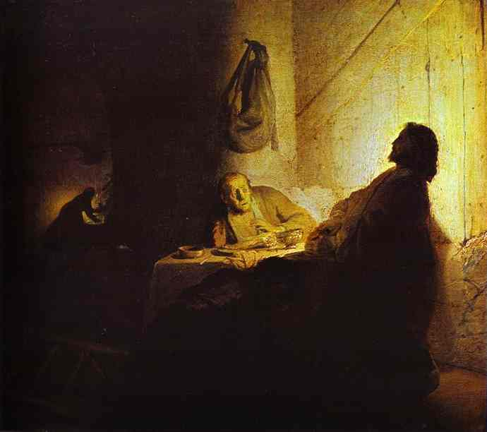 Rembrant's depiction of the appearance of Christ after the walk to Emmaus