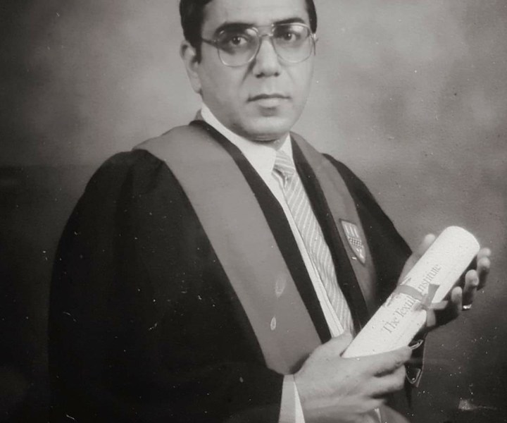 Akbal Singh Kang being admitted to the Textile Institute in 1988.