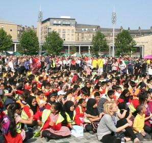 School children at the Love Bradford World Record Attempt