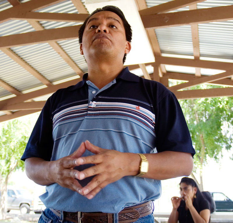 Rufino Dominguez Santos, General Coordinator for the FIOB, speaking at a meeting of indigenous Oaxaqueños in Hollister, California on May 6, 2007.