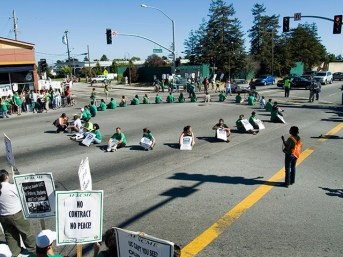 UC Workers and Students Block California Highway 1
