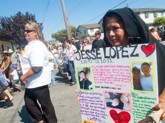 Margarita Lopez, whose son Jesse Lopez (1/25/97 - 12/10/11) was killed on the evening of Saturday, December 10, 2011 off Hecker Pass Road in Watsonville, marches in the annual Peace and Unity March.