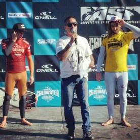 Ceremony MC John Shimooka Congratulates Matt Wilkinson and Taj Burrow