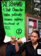 WE DEMAND: That Chancellor Denton publically renounce military recruitment at UCSC