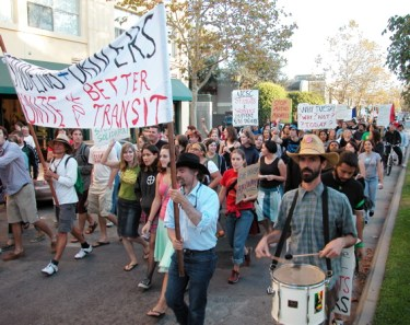 hundreds of people decided to march up Pacific Avenue and to the Sentinel