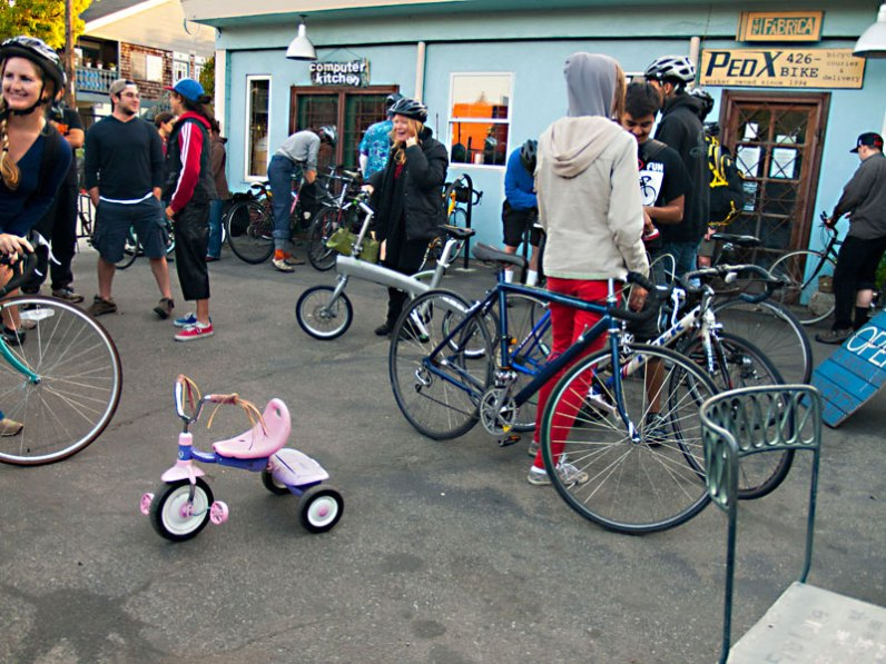 Partygoers gather at the Bike Church
