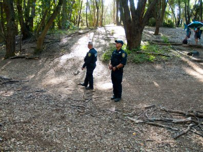 UC San Francisco Police Officers in Porter Meadow at UCSC