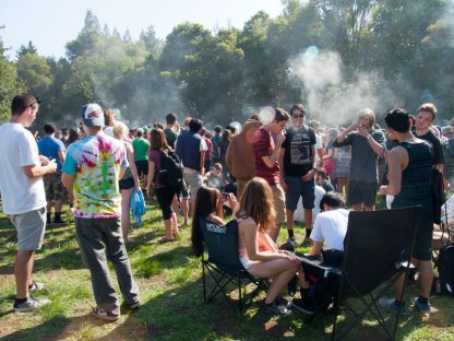 4:20 on 420 in the Porter Meadow at UC Santa Cruz