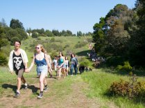 Students Descend from Porter College into UCSC's Porter Meadow