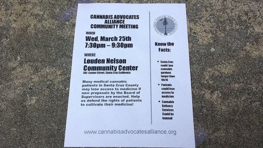 Flyers for the Cannabis Advocates Alliance were distributed after the meeting.