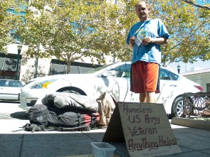 Homeless US Army Veteran on Pacific Avenue