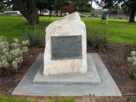 "The Bataan Memorial, a rock with an embedded plaque, is located at the entrance of Bataan Park near the intersection of Market and Monterey Streets. The plaque reads: ""Bataan Park. This park is dedicated by the City of Salinas to the men who served with Company C, 194th Tank Battalion, California National Guard, during World War II and were captured on Bataan on April 9, 1942. May time never tarnish the memory of their sacrifice."""