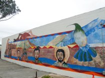 A mural on the outside wall of the Chinatown Community Learning Center of Salinas located at 22 Soledad Street.