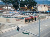 View of Chinatown, in the background on the other side of the tracks, from the Monterey Street Parking Garage on E. Market Street in Salinas.