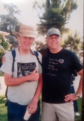 """Bob Fitch and Louie LaFortune at the 2007 Peace and Unity March in Watsonville. Louie wore a shirt declaring, """"Don't Fight for Peace, Stand for Peace."""""""