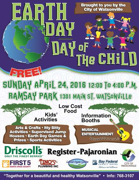 Color flyer for Watsonville Earth Day 2016 featuring the Driscoll's logo.