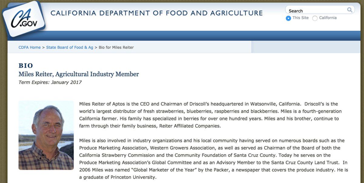 Miles Reiter's biography for the California State Board of Food and Agriculture.