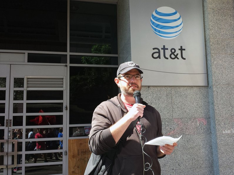 In 1993, AT&T laid off thousands of unionized telephone operators in order to increase their profits. Since that time, they have replaced those unionized workers with call centers in prisons in Colorado, Oregon, Arizona, New Mexico, Ohio, New Jersey and Florida. The prisons in those states sell their prisoners' labor to a company called Unibase, which then sells the service to AT&T. Prisoners are paid about $2 a day. (source)