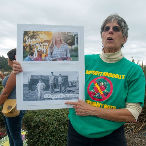 Pam Stearns compares cheerful Driscoll's marketing to San Quintín farmworker poverty
