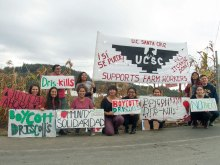 UCSC Movimiento Estudiantil Chicano de Aztlán (MEChA) students display homemade signs in solidarity with San Quintín farmworkers in front of the Driscoll's Distribution Center in Aromas, California on October 15, 2016.