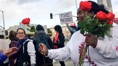 Giving Away Roses at the Watsonville Plaza