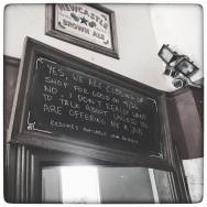 """""""I Don't Want To Talk About It"""" Sign at Caffé Pergolesi"""
