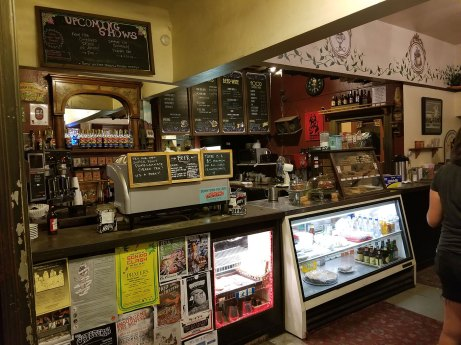 The front counter at Caffé Pergolesi on the night of August 9, 2017, shortly after news broke that the treasured cafe was closing in two weeks.