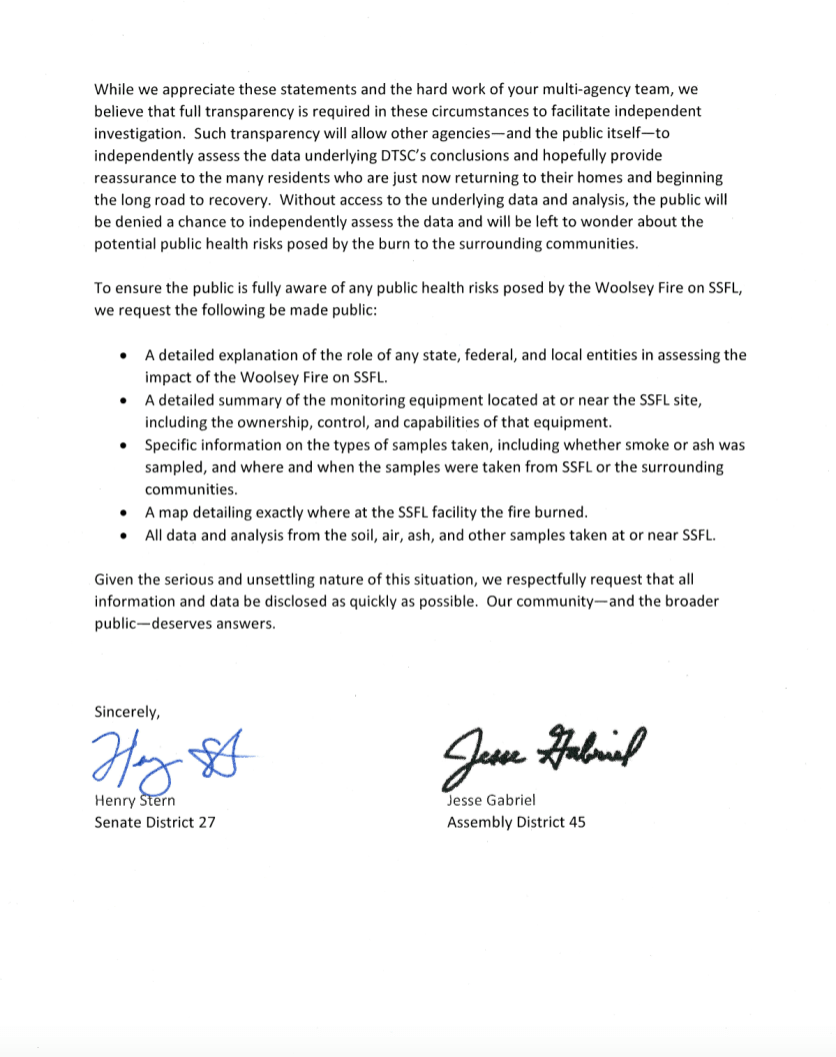 Letter from Senator Stern and Assemblymember Gabriel to DTSC, page 2
