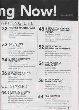 Writer's Digest, November 2003 Table of Contents